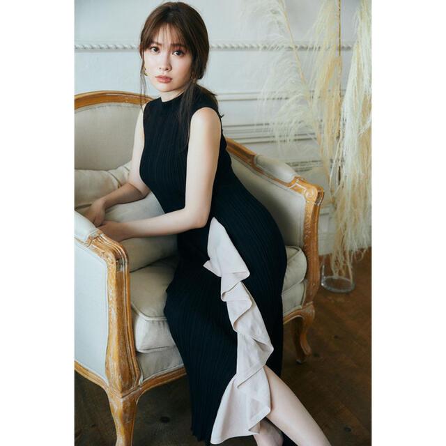 her lip to Ruffled Tow-tone Knit Dress レディースのワンピース(ひざ丈ワンピース)の商品写真