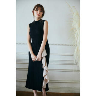 her lip to Ruffled Tow-tone Knit Dress