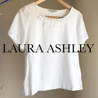 ローラアシュレイ(LAURA ASHLEY)のローラアシュレイ 夏服 白トップス カットソー Tシャツ(Tシャツ(半袖/袖なし))