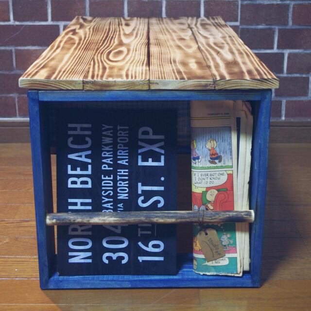 ハンドメイド テーブル ブルー インテリア/住まい/日用品の机/テーブル(ローテーブル)の商品写真