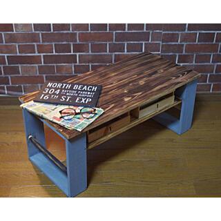 ハンドメイド テーブル グレー(ローテーブル)