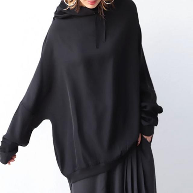 antiqua(アンティカ)のペイズリー柄シアーシャツ ドルマン綿ニット 変形トップス レディースのトップス(シャツ/ブラウス(長袖/七分))の商品写真