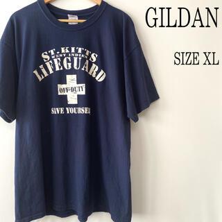 ギルタン(GILDAN)のUS古着 GILDAN ギルダン プリント Tシャツ ネイビー XL(Tシャツ/カットソー(半袖/袖なし))