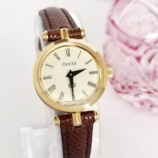 Gucci - ⭐1ヶ月保証 綺麗 グッチ シェリー 新品レザー茶 レディース腕時計 着物 美品