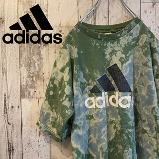 adidas - 【ブリーチ加工】アディダス パフォーマンスロゴ Tシャツ 緑 ビッグロゴ