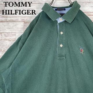 TOMMY HILFIGER - 【古着】トミーヒルフィガー ワンポイント 刺繍ロゴ ポロシャツ グリーン L