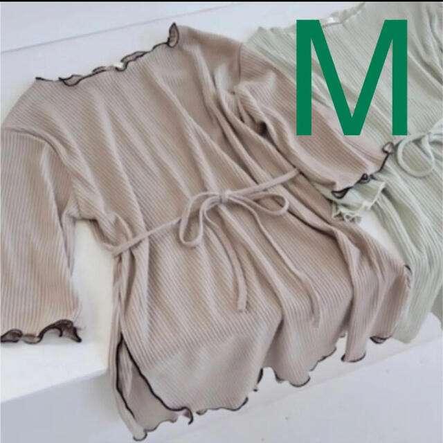 しまむら(シマムラ)のしまむら てらさん パイピング 紐付きテレコ M   配色メロウ レディースのトップス(カットソー(長袖/七分))の商品写真