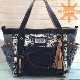◆ハワイアン柄×デニム◆サイドポケット付き トートバッグ(バッグ)