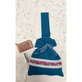 インド刺繍巾着バック〘 グリーン〙(バッグ)