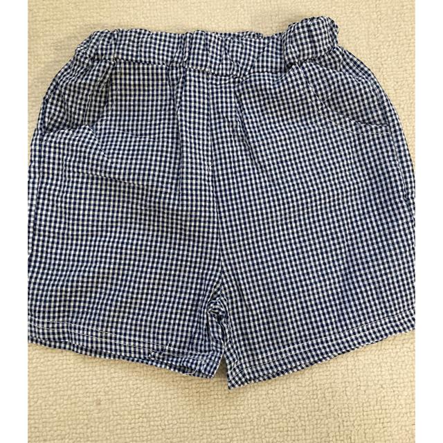 キッズ ショートパンツ セットアップ 韓国子供服 ネイビー 100 リボン キッズ/ベビー/マタニティのキッズ服女の子用(90cm~)(Tシャツ/カットソー)の商品写真