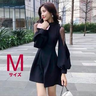 ワンピース 黒 ミニドレス M バルーンスリーブ バックリボン 韓国 インポート