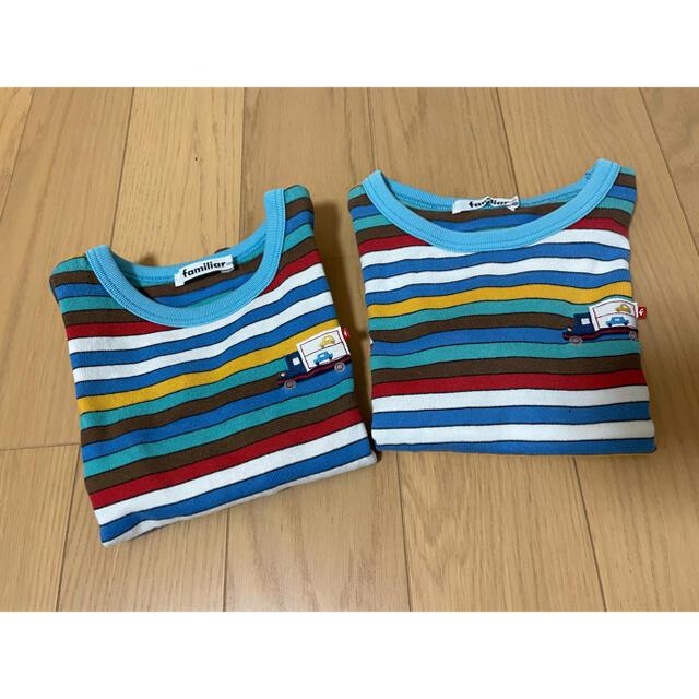 familiar(ファミリア)のファミリア ロンT ボーダー セット 100  キッズ/ベビー/マタニティのキッズ服男の子用(90cm~)(Tシャツ/カットソー)の商品写真