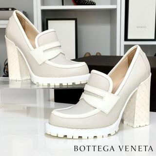 ボッテガヴェネタ(Bottega Veneta)の2470 美品 ボッテガヴェネタ レザー ロファーパンプス ホワイト(ハイヒール/パンプス)