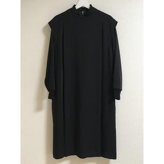 ハイク(HYKE)のHYKE ハイク MOCKNECK DRESS ブラック サイズ1 (ひざ丈ワンピース)