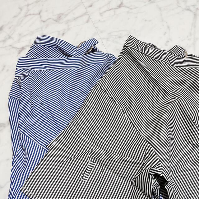 ZARA(ザラ)のVデザインストライプ七分袖ブラウス(ブラック)大きいサイズ レディースのトップス(シャツ/ブラウス(長袖/七分))の商品写真