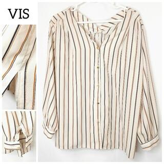 ViS - VIS ストライプ ブラウス Lサイズ ビス