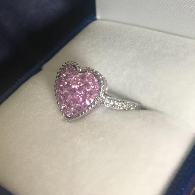 PonteVecchio(ポンテヴェキオ)の18K WG ピンクサファイア&ダイヤモンド ハートリング💓 レディースのアクセサリー(リング(指輪))の商品写真