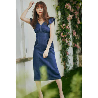 herlipto Ruffled Shoulder Denim Dress