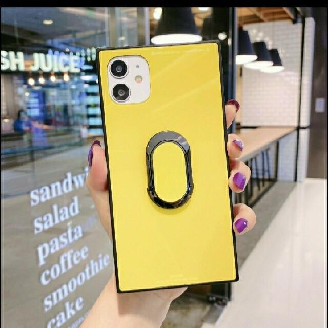 iphoneX iphoneXS ケース リング付き スクエア ミラー リング スマホ/家電/カメラのスマホアクセサリー(iPhoneケース)の商品写真