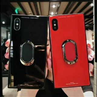 iphoneX iphoneXS ケース リング付き スクエア ミラー リング