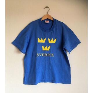 サンタモニカ(Santa Monica)のヴィンテージスウェーデン国SVERIGE三王冠柄Tシャツ/ジャンティーク/北欧(Tシャツ(半袖/袖なし))