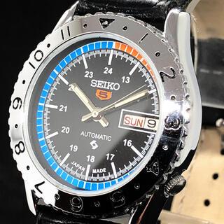 セイコー(SEIKO)の【激レア】SEIKO 5/メンズ腕時計/Vintage/ブラック色/お洒落(腕時計(アナログ))