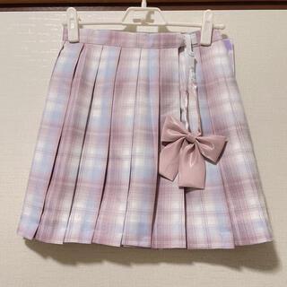 【新品60】リボンつき なんちゃって制服スカート チェックスカート