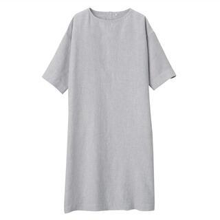 MUJI (無印良品) - 新品   無印良品  フレンチリネン洗いざらし七分袖ワンピース