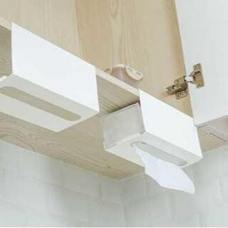 キッチンボックス ハンガー ペーパーホルダー 吊り下げ式 タオル 白(ティッシュボックス)