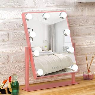 【新品最安値挑戦!】FENCHILIN 化粧鏡 9個LED電球付き(ピンク)(卓上ミラー)