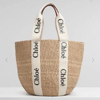 クロエ(Chloe)のChloe  ホワイトリボン クロエ woody ウッディ ラージ かご バッグ(かごバッグ/ストローバッグ)