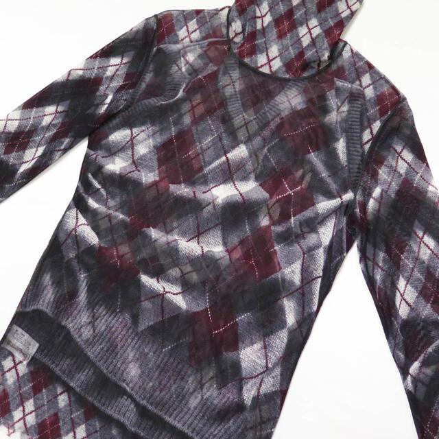 Jean-Paul GAULTIER(ジャンポールゴルチエ)の ジャンポールゴルチェ オム パワーネット 錯視 アーガイル トップ メンズのトップス(Tシャツ/カットソー(七分/長袖))の商品写真
