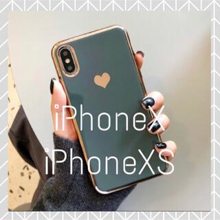 メタリック ハート iPhoneケース (iPhoneX/XS ブルー)(iPhoneケース)