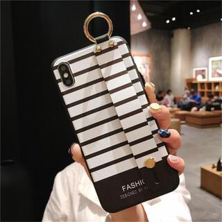 ボーダー ホワイト ケース iphoneXR iphoneケース カバー(iPhoneケース)