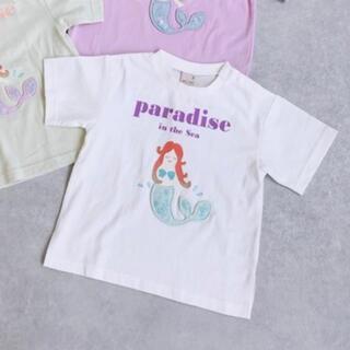 プティマイン(petit main)のpetit main マーメイドシアーアップリケTシャツ(Tシャツ/カットソー)