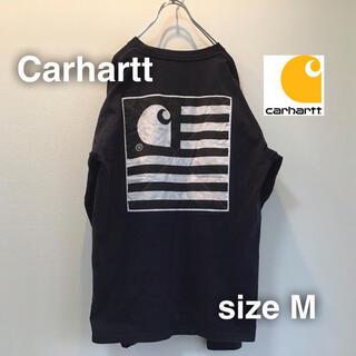 カーハート(carhartt)のCarhartt カーハート ロングスリーブ M バックプリント ビックロゴ 紺(Tシャツ/カットソー(七分/長袖))