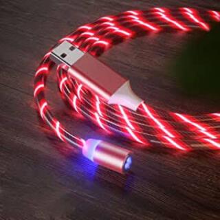 磁気充電ケーブル流れる電話ケーブル1メートルiPhoneケーブル用赤(シールド/ケーブル)