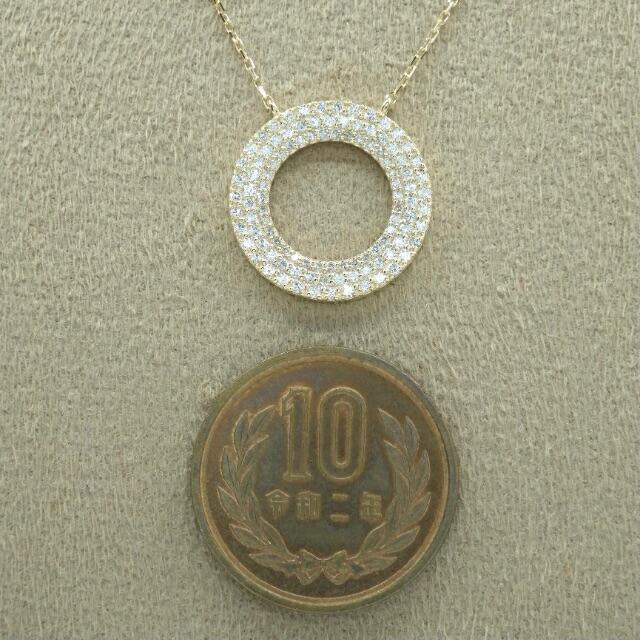D0.70ct ダイヤモンド  k18 イエローゴールド サークル  ペンダント レディースのアクセサリー(ネックレス)の商品写真