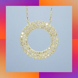 D0.70ct ダイヤモンド  k18 イエローゴールド サークル  ペンダント(ネックレス)
