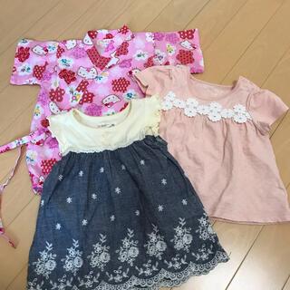 ハローキティ(ハローキティ)の80サイズ 夏物女の子ベビー服 3点まとめ売り(その他)