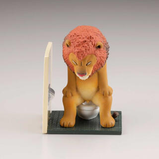 カイヨウドウ(海洋堂)の佐藤邦雄の動物たち トイレの時間 ライオン(フィギュア)