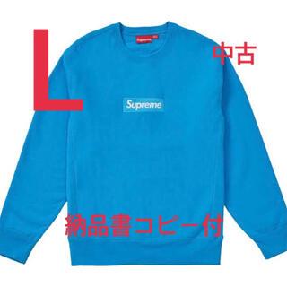 Supreme - SUPREME 18AW Box Logo Crewneck Lサイズ ブルー