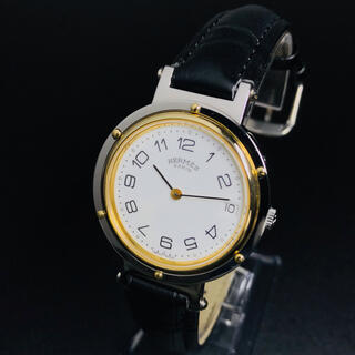 Hermes - 【美品 稼働品】 エルメス 腕時計 クリッパー ゴールド メンズ レザー 正規品
