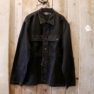 ダブルアールエル(RRL)のRRL(ダブルアールエル)ヘリンボーンシャツジャケット 黒(カバーオール)