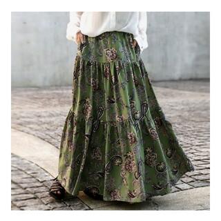 antiqua - アンティカ ペイズリー柄ティアードスカート
