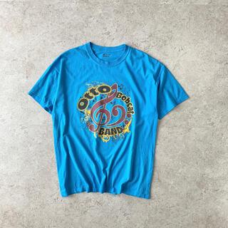 ギルタン(GILDAN)のGILDAN プリントTシャツ 音符 水色 古着(Tシャツ/カットソー(半袖/袖なし))