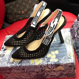 Christian Dior - 黒、アプリコット、ベアピンクの三色カットソーの猫ヒールサンダル