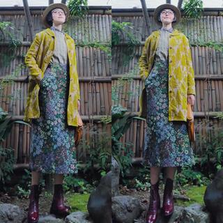 45R - 日本製 45r花柄ストライプコットンリネンジャカード刺繍ブラウス羽織カーディガン