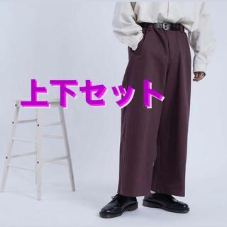 HARE - クティール 長袖シャツ&ワイドパンツ オフホワイト 白 パープル 紫 韓国 古着