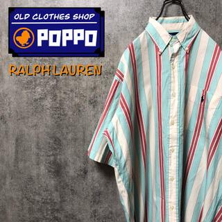 Ralph Lauren - ラルフローレン☆ワンポイント刺繍ロゴポケット半袖マルチストライプシャツ 90s